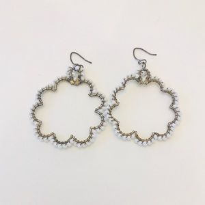 Jewelry - 3 for $8 / White beaded floral earrings